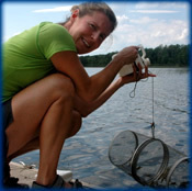Joanna works with crayfish traps